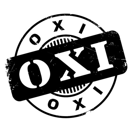 disapprove: Oxi NO In Greek rubber stamp. Grunge design with dust scratches. Effects can be easily removed for a clean, crisp look. Color is easily changed. Illustration