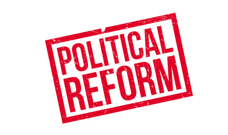 Politieke hervorming Rubberstempel. Grungeontwerp met stofkrassen. Effecten kunnen eenvoudig worden verwijderd voor een schone, heldere look. Kleur is gemakkelijk te veranderen.