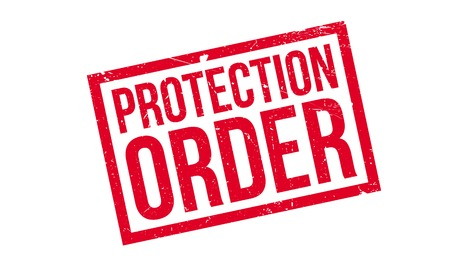 Protection Order rubber stamp. Grunge design with dust scratches. Effects can be easily removed for a clean, crisp look. Color is easily changed. Vektoros illusztráció