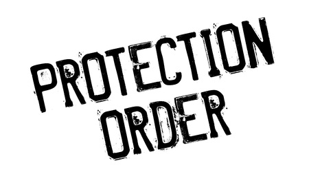 Protection Order rubber stamp. Grunge design with dust scratches. Effects can be easily removed for a clean, crisp look. Color is easily changed. Stock Illustratie