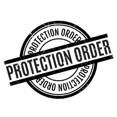 to restrain: Protection Order rubber stamp. Grunge design with dust scratches. Effects can be easily removed for a clean, crisp look. Color is easily changed. Illustration