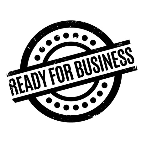 beck: Ready For Business rubber stamp. Grunge design with dust scratches. Effects can be easily removed for a clean, crisp look. Color is easily changed.