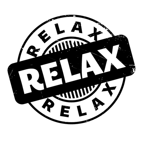 Relax rubber stamp. Grunge design with dust scratches. Effects can be easily removed for a clean, crisp look. Color is easily changed. Illustration