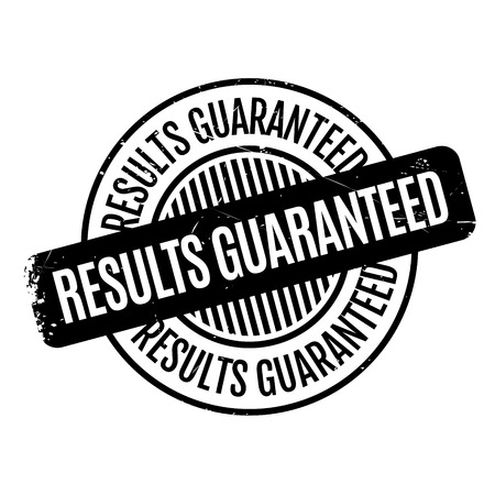 Results Guaranteed rubber stamp. Grunge design with dust scratches. Effects can be easily removed for a clean, crisp look. Color is easily changed. Stock Photo