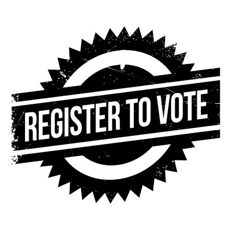 Register To Vote rubber stamp. Grunge design with dust scratches. Effects can be easily removed for a clean, crisp look. Color is easily changed.