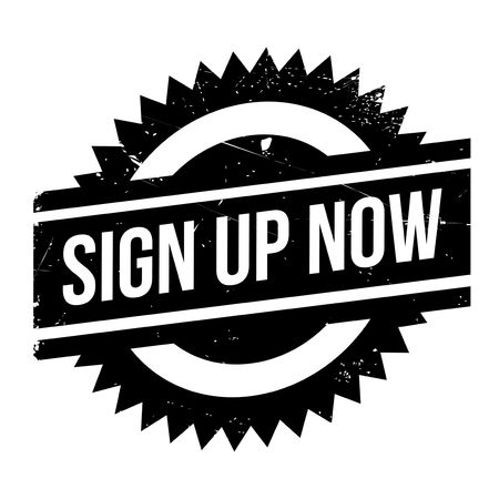 settle up: Sign Up Now rubber stamp. Grunge design with dust scratches. Effects can be easily removed for a clean, crisp look. Color is easily changed.