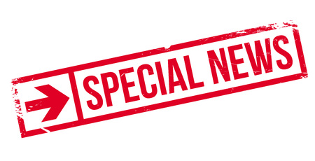 especial: Special News rubber stamp. Grunge design with dust scratches. Effects can be easily removed for a clean, crisp look. Color is easily changed.