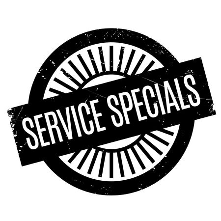 Service Specials rubber stamp. Grunge design with dust scratches. Effects can be easily removed for a clean, crisp look. Color is easily changed. Çizim
