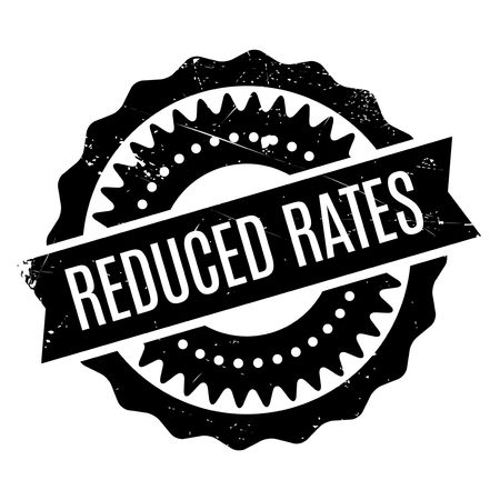 retailing: Reduced Rates rubber stamp. Grunge design with dust scratches. Effects can be easily removed for a clean, crisp look. Color is easily changed.