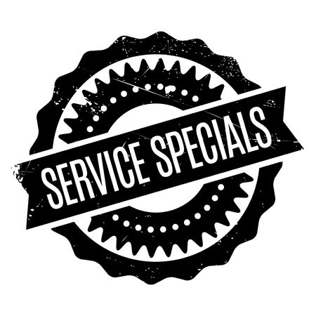 Service Specials rubber stamp. Grunge design with dust scratches. Effects can be easily removed for a clean, crisp look. Color is easily changed. Illustration