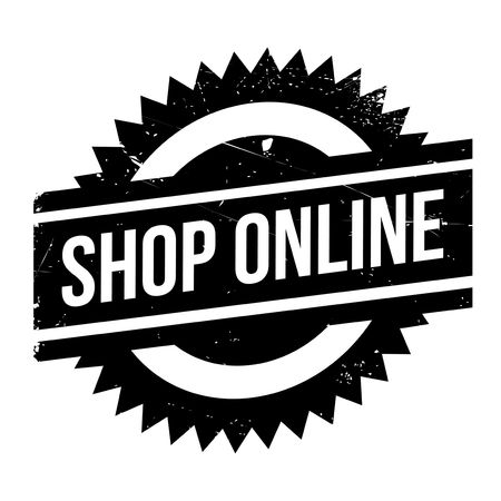 operative: Shop Online rubber stamp. Grunge design with dust scratches. Effects can be easily removed for a clean, crisp look. Color is easily changed.
