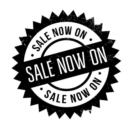 promptly: Sale Now On rubber stamp. Grunge design with dust scratches. Effects can be easily removed for a clean, crisp look. Color is easily changed.
