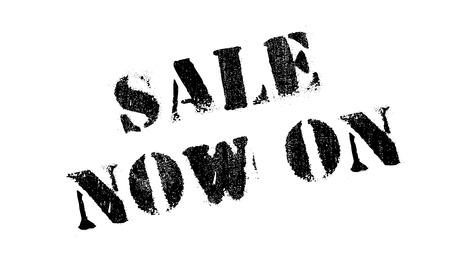 just in time: Sale Now On rubber stamp. Grunge design with dust scratches. Effects can be easily removed for a clean, crisp look. Color is easily changed.