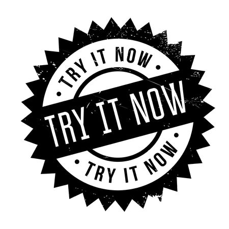 Try It Now rubber stamp. Grunge design with dust scratches. Effects can be easily removed for a clean, crisp look. Color is easily changed. Ilustração