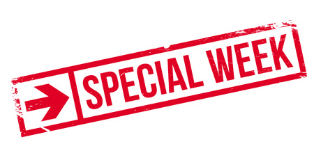 especial: Special Week rubber stamp. Grunge design with dust scratches. Effects can be easily removed for a clean, crisp look. Color is easily changed.