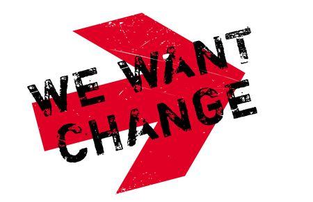 Queremos el sello de goma del cambio. Diseño de grunge con rasguños de polvo. Los efectos se pueden quitar fácilmente para un aspecto limpio y nítido. El color se cambia fácilmente.
