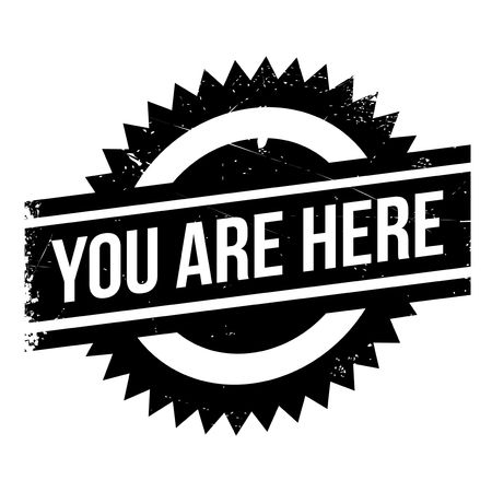 You Are Here rubber stamp. Grunge design with dust scratches. Effects can be easily removed for a clean, crisp look. Color is easily changed. Stock Photo