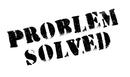 clarify: Problem Solved rubber stamp. Grunge design with dust scratches. Effects can be easily removed for a clean, crisp look. Color is easily changed.