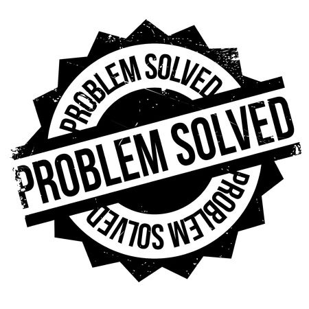 Problem Solved rubber stamp. Grunge design with dust scratches. Effects can be easily removed for a clean, crisp look. Color is easily changed.
