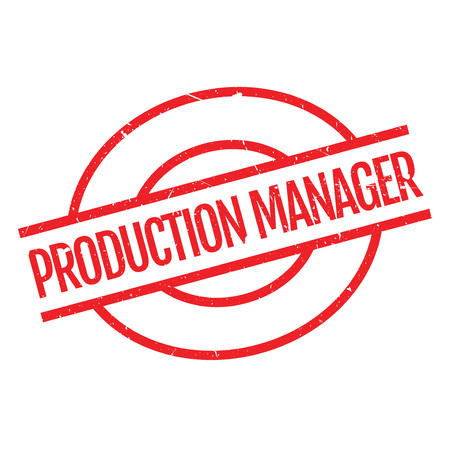 Production Manager rubber stamp. Grunge design with dust scratches. Effects can be easily removed for a clean, crisp look. Color is easily changed.