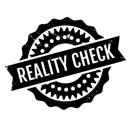 Reality Check rubber stamp. Grunge design with dust scratches. Effects can be easily removed for a clean, crisp look. Color is easily changed. Stock Illustratie