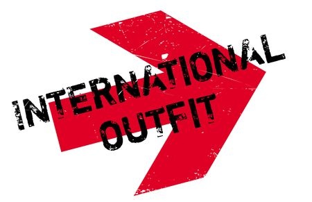 guise: International Outfit rubber stamp. Grunge design with dust scratches. Effects can be easily removed for a clean, crisp look. Color is easily changed.