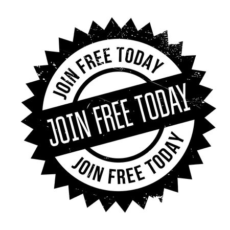 enlist: Join Free Today rubber stamp. Grunge design with dust scratches. Effects can be easily removed for a clean, crisp look. Color is easily changed.