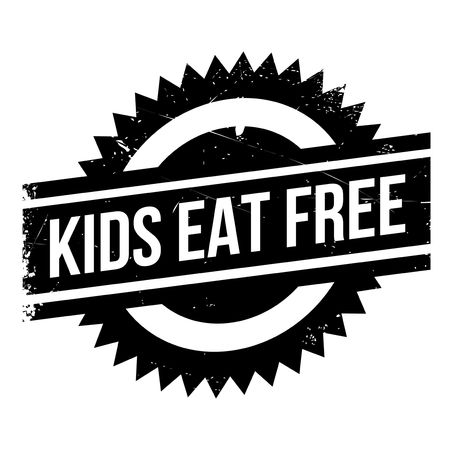 take charge: Kids Eat Free rubber stamp. Grunge design with dust scratches. Effects can be easily removed for a clean, crisp look. Color is easily changed.