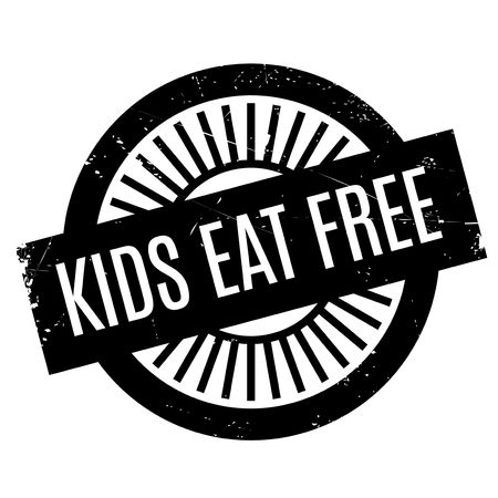 Kids Eat Free rubber stamp. Grunge design with dust scratches. Effects can be easily removed for a clean, crisp look. Color is easily changed.