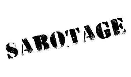 disrupt: Sabotage rubber stamp. Grunge design with dust scratches. Effects can be easily removed for a clean, crisp look. Color is easily changed.