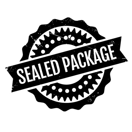 Sealed Package rubber stamp. Grunge design with dust scratches. Effects can be easily removed for a clean, crisp look. Color is easily changed. Illustration
