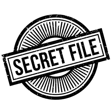 furtive: Secret File rubber stamp. Grunge design with dust scratches. Effects can be easily removed for a clean, crisp look. Color is easily changed.