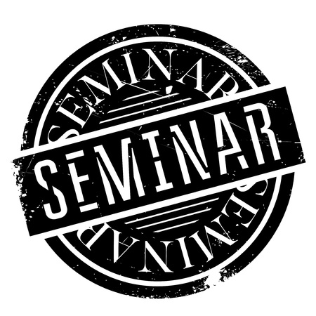 institute: Seminar rubber stamp. Grunge design with dust scratches. Effects can be easily removed for a clean, crisp look. Color is easily changed.