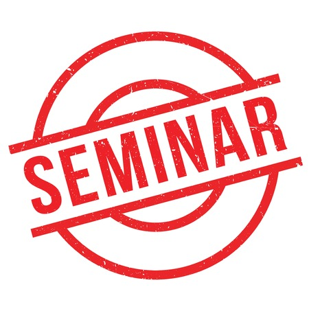 Seminar rubber stamp. Grunge design with dust scratches. Effects can be easily removed for a clean, crisp look. Color is easily changed.