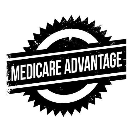 Tampon en caoutchouc Medicare Advantage. Design grunge avec rayures de poussière. Les effets peuvent être facilement éliminés pour un look net et net. La couleur est facilement modifiée.