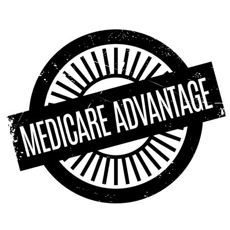Medicare Advantage rubber stamp. Grunge design with dust scratches. Effects can be easily removed for a clean, crisp look. Color is easily changed. Stock Vector - 73123269