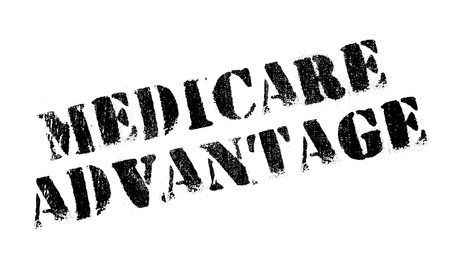 Medicare Advantage rubber stamp. Grunge design with dust scratches. Effects can be easily removed for a clean, crisp look. Color is easily changed. Stock Vector - 73196281