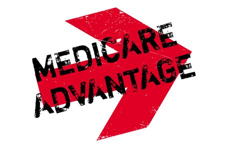 health care provider: Medicare Advantage rubber stamp. Grunge design with dust scratches. Effects can be easily removed for a clean, crisp look. Color is easily changed.