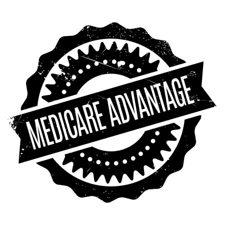 Medicare Advantage rubber stamp. Grunge design with dust scratches. Effects can be easily removed for a clean, crisp look. Color is easily changed. Stock Vector - 73116246