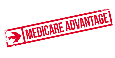 precedence: Medicare Advantage rubber stamp. Grunge design with dust scratches. Effects can be easily removed for a clean, crisp look. Color is easily changed.