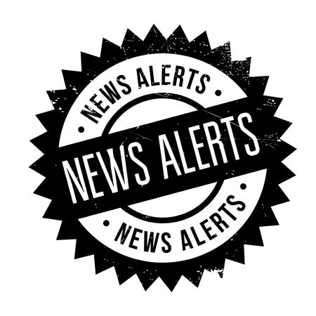 News Alerts rubber stamp. Grunge design with dust scratches. Effects can be easily removed for a clean, crisp look. Color is easily changed. Illustration