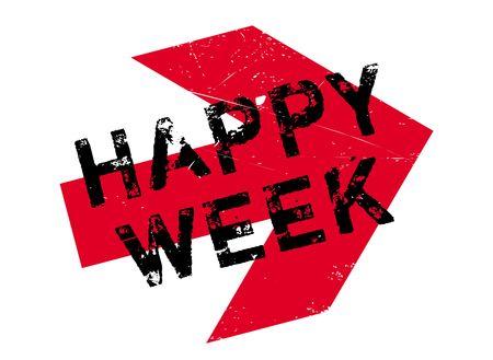 Happy Week Stempel. Grunge-Design mit Staub Kratzer. Effekte können leicht für einen sauberen, klaren Look entfernt werden. Farbe wird leicht gewechselt.