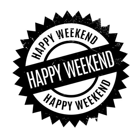 Happy Weekend rubber stamp. Grunge design with dust scratches. Effects can be easily removed for a clean, crisp look. Color is easily changed. Illustration