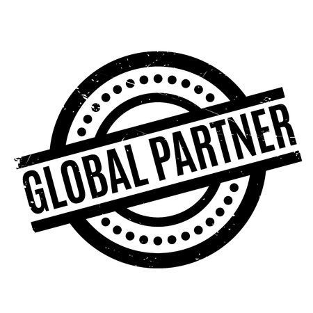 Global Partner rubber stamp. Grunge design with dust scratches. Effects can be easily removed for a clean, crisp look. Color is easily changed. Illustration
