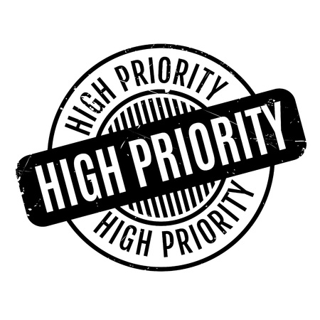 High Priority rubber stamp. Grunge design with dust scratches. Effects can be easily removed for a clean, crisp look. Color is easily changed.