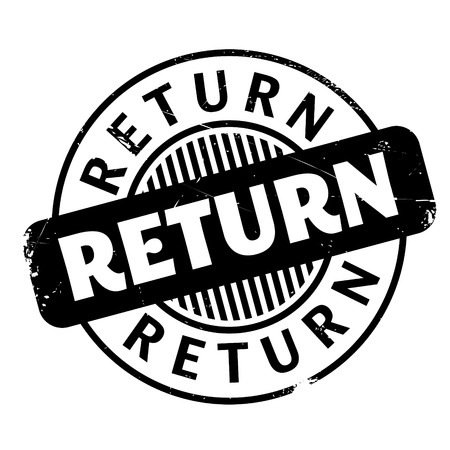 come back: Return rubber stamp. Grunge design with dust scratches. Effects can be easily removed for a clean, crisp look. Color is easily changed. Illustration
