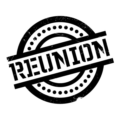 Reunion rubber stamp. Grunge design with dust scratches. Effects can be easily removed for a clean, crisp look. Color is easily changed.
