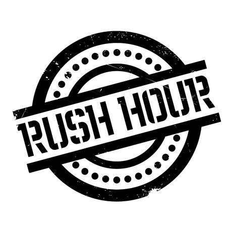 Rush Hour-rubberzegel Grungeontwerp met stofkrassen. Effecten kunnen eenvoudig worden verwijderd voor een schone, heldere look. Kleur is gemakkelijk te veranderen. Vector Illustratie