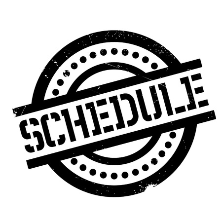 Schedule rubber stamp. Grunge design with dust scratches. Effects can be easily removed for a clean, crisp look. Color is easily changed.