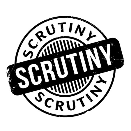 scrutinise: Scrutiny rubber stamp. Grunge design with dust scratches. Effects can be easily removed for a clean, crisp look. Color is easily changed.